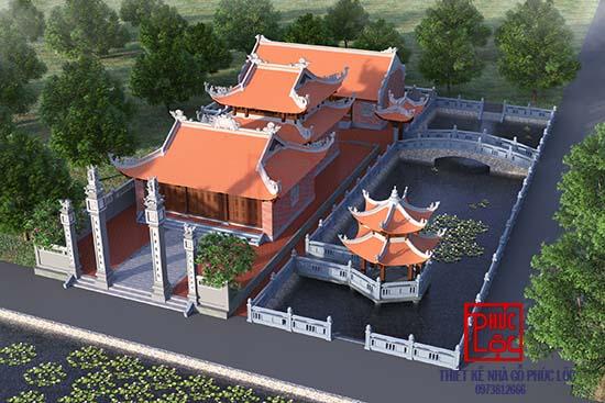 Phối cảnh nhìn từ trên cao của Đình ở Thái Bình